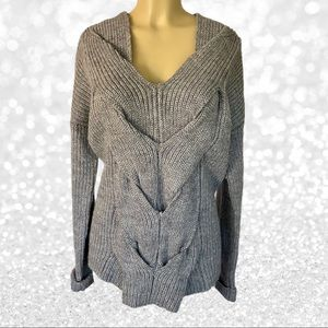 Nordstrom Gray Braided Heavy Sweater